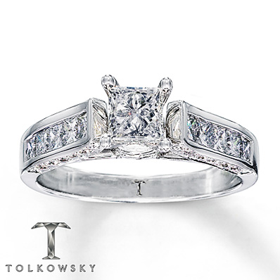 Kay Jewelers 14K White Gold Channel Set Princess Cut Engagement Ring
