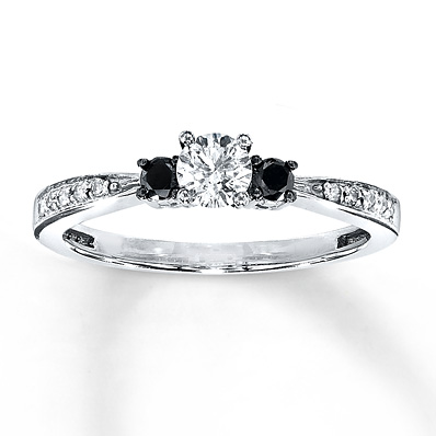 Kay Jewelers 3/8 ct tw Engagement Ring with Black Diamond Sidestones in White Gold