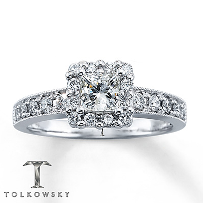 Kay Jewelers 7/8 ct tw Princess-Cut Diamond Engagement Ring in 14K White Gold