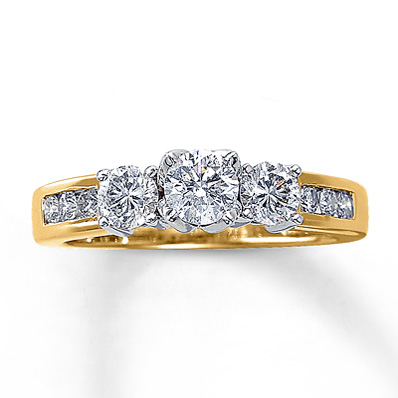 14K Yellow Gold Three-Stone Diamond Ring