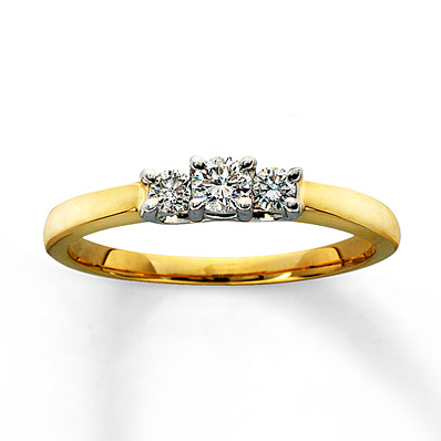 Kay Jewelers Three Stone Engagement Ring In 14k Yellow