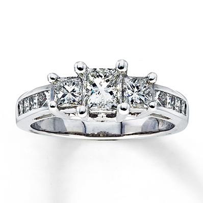 2 Carat Princess Cut Three-Stone Diamond Engagement Ring