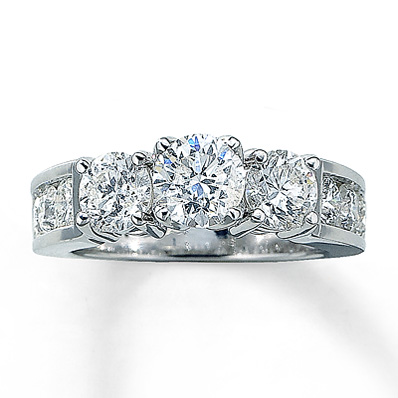 Kay Jewelers 3 ct tw Round-Cut Three-Stone Engagement Ring in 14K White Gold