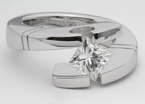 Grooved Tension Set Engagement Ring