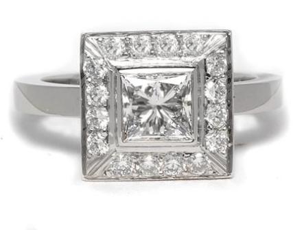 Frame Set Halo Engagement Ring