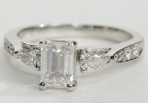 Pear Shaped Diamond Engagement Ring With Pave Diamonds