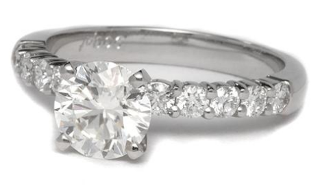 10 Diamond Sidestone Engagement Ring