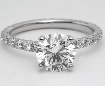 French Cut Platinum Engagement Ring
