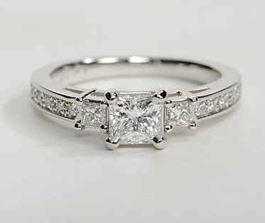 Pave Sidestone Princess Cut Engagement Ring