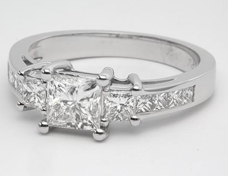 Princess Cut Channel Set Three Stone Engagement Ring