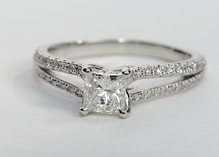 Split-Shank Princess Cut Diamond Engagement Ring