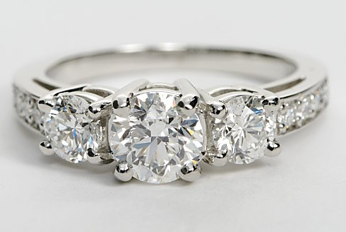 Three Stone Pave Engagement Ring
