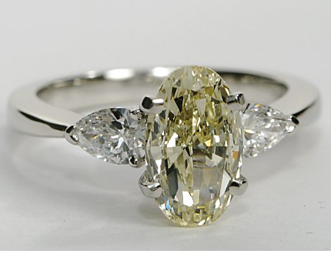 Classic Engagement Ring with Pear Shaped Sidestones (Larger Diamonds)