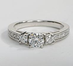 Trio Pave+Sidestone Engagement Ring