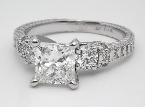 Vintage Engagement Ring With Sidestones
