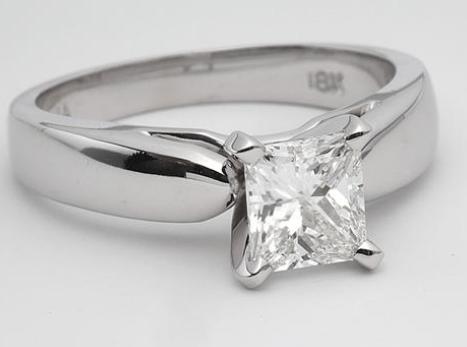 Rounded Edge Solitaire Engagement Ring in 14k White Gold