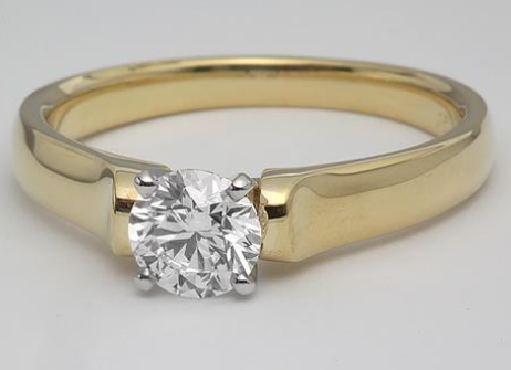 Yellow Gold Solitaire Engagement Ring with Rounded Edges