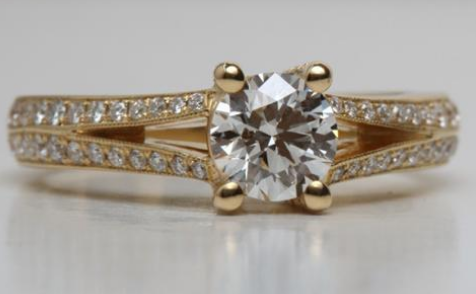 Yellow Gold Split Shank Pave Engagement Ring