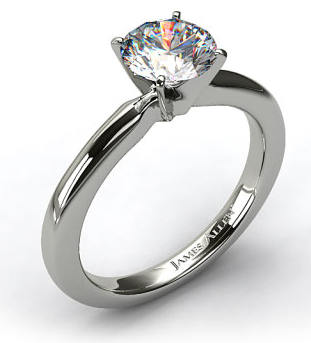 2mm Comfort Fit Solitaire Engagement Ring in 14k White Gold