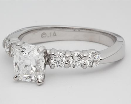 6 Diamond Side Stone Engagement Ring in 14k White Gold