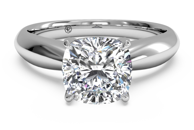 Solitaire Engagement Ring with Surprise Diamonds in 14kt White Gold
