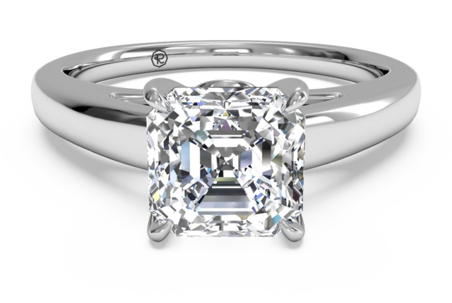 Cathedral Solitaire 18k White Gold Engagement Ring with Surprise Diamonds