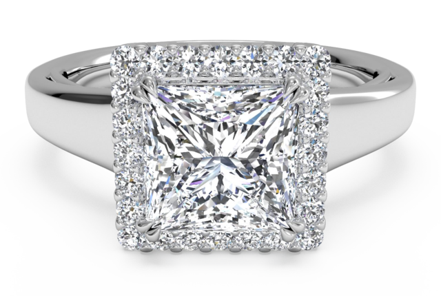 Square Shaped Halo Engagement Ring in 18k White Gold