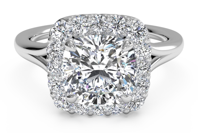 Halo French-Set Engagement Ring in 14k White Gold