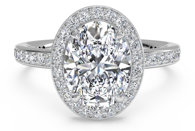 Halo Micropave Engagement Ring in 18kt White Gold