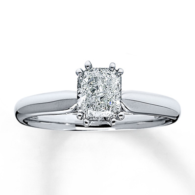 Jared Solitaire 1 carat Radiant Cut Engagement Ring in 14k White Gold