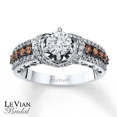 Kay Jewelers Chocolate Diamond Engagement Ring in 14K Vanilla Gold – 1 1/4 ct tw