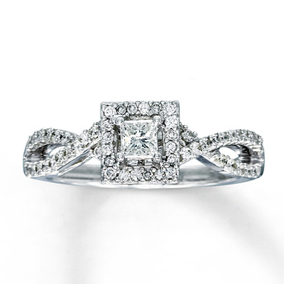 Kay Jewelers Halo Twisted Band Princess Cut Engagement Ring in White Gold – 1/2 ct tw