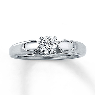 Kay Jewelers Round Solitaire Engagement Ring in 14K White Gold – 1/3 Carat