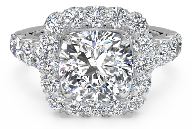 Designer Cushion Cut Engagement Ring with Halo and Sidestone Diamonds – in Platinum