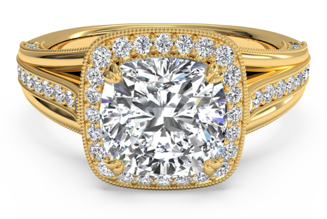 Designer Halo Cushion Cut Engagement Ring with Milgrain Detailing – in 18k Yellow Gold
