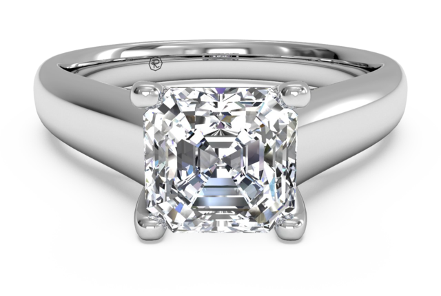 Solitaire Engagement Ring with Micropave Detail in 14k White Gold