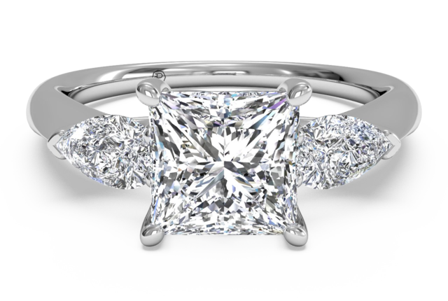 Three-Stone Engagement Ring with Pear-Shaped Diamonds in 18k White Gold – 0.40 ct tw