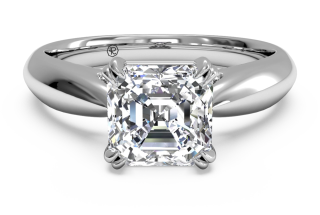 Elegant Solitaire Engagement Ring in 18k White Gold