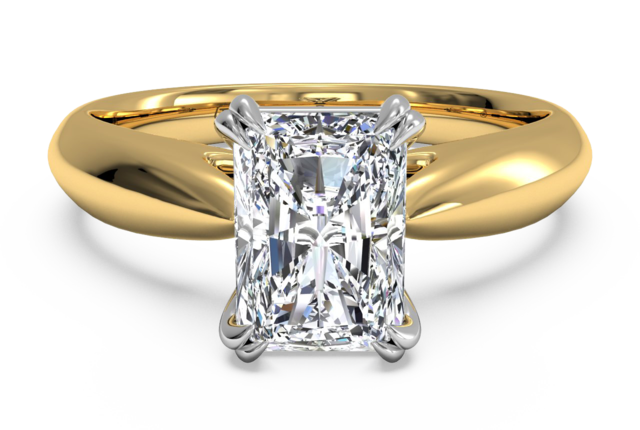 Solitaire Engagement Ring With Slight Taper in 18k Yellow Gold