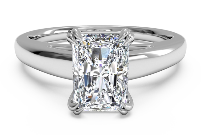 Solitaire Engagement Ring with Cathedral Setting in 14k White Gold