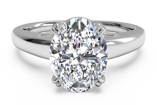 Cathedral Solitaire Engagement Ring in 18k White Gold