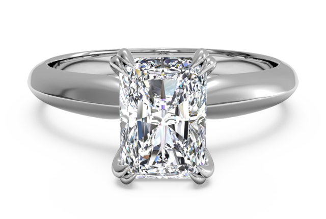 Solitaire Knife-Edge Engagement Ring in 18k White Gold