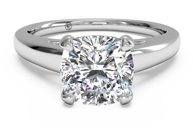 Cathedral Solitaire Engagement Ring Setting in 14k White Gold