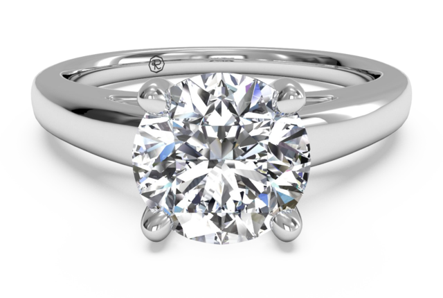 Solitaire Engagement Ring with Cathedral Setting in 18k White Gold