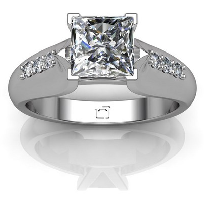 Antique Wide Band Sidestone Engagement Ring in14k White Gold