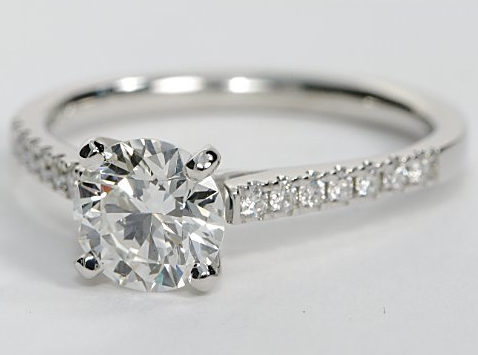 Cathedral Pave White Gold Engagement Ring
