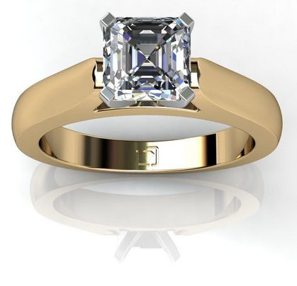 Cathedral Style Solitaire Engagement Ring in 14k Yellow Gold