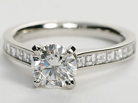 Channel Set Asscher Cut Platinum Engagement Ring
