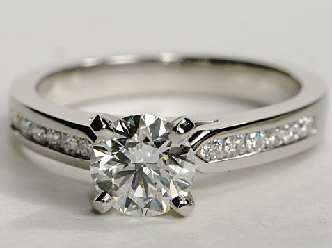 Channel Set Engagement Ring in Platinum