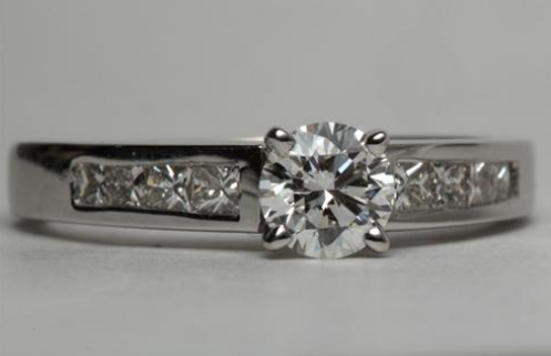 Channel Set Engagement Ring in 18k White Gold